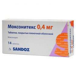 Моксонитекс, табл. п/о пленочной 0.4 мг №28