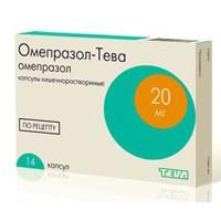 Омепразол-Тева, капс. кишечнораств. 20 мг №14