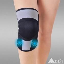 Бандаж для коленного и локтевого сустава, Крейт р. 6 (обхват колена 48-50 см) А-450 с аппликаторами биомагнитными медицинскими черно-серый